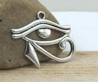 EYE of HORUS Charms, Choose 3-10 Antique Silver Egypt Pendant Set Lot, 33x26mm