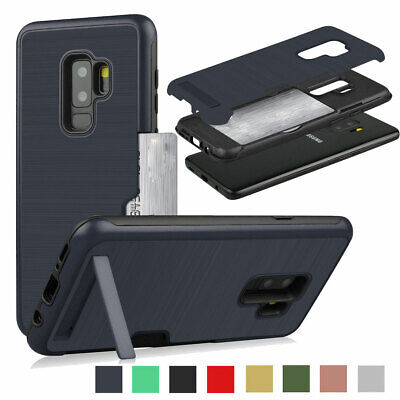 Slim Hybrid Card Holder with Stand Case Cover For Samsung Galaxy S8 S9+ Plus