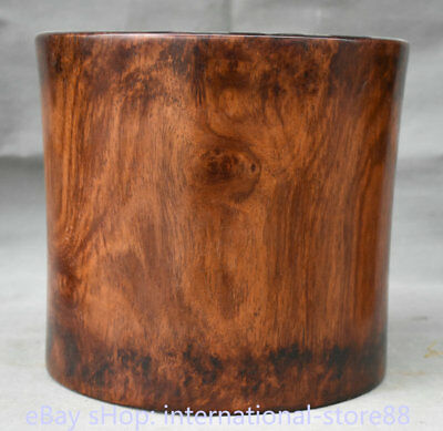 "9.6"" Collect Old Chinese Huanghuali Wood Dynasty Palace Ghost Eyes Brush Pot"