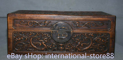 "16"" Old Chinese Huanghuali Wood Carved Palace Dragon Pixiu Jewel Case or Box"