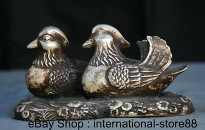 "6"" Marked Old Chinese Silver Feng Shui Mandarin Duck LOVE Sweethearts Statue"