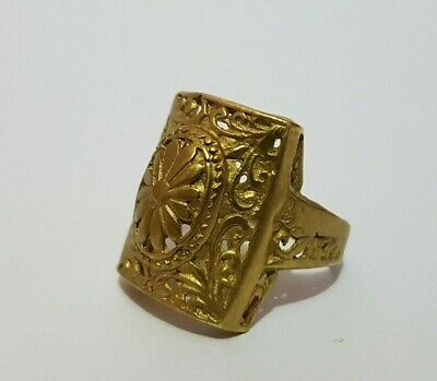 Extremely Ancient Roman Ring Bronze Gold color Authentic Vintage Rare Roman Ring