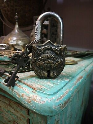 Home Decor Collectible Working 3 inch Demon Face Working padlock & Keys #TSHUK64