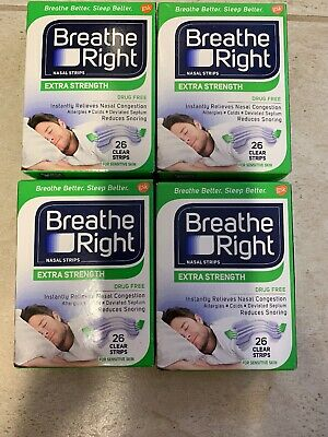 * (4) 26 ct Breathe Right Strips - Extra Clear Sensitive Skin - 104 ct Total NEW