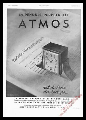 1932 ORIGINAL FRENCH ART DECO ADVERT PRINT Jaeger le Coultre Atmos Clock Ad 2752