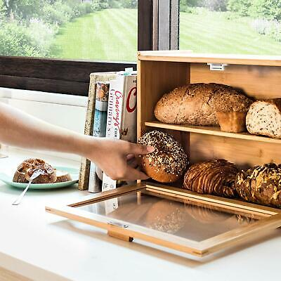 Bamboo Bread Box with Clear Front Window - Farmhouse Style Bread Holder