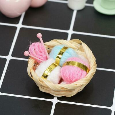1:12 Dollhouse Miniature Filled Sewing Basket Knitting Colorful Yarn Cute H5G2