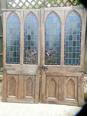 Fantastic Pair of Reclaimed French Priory Stained Glass Doors