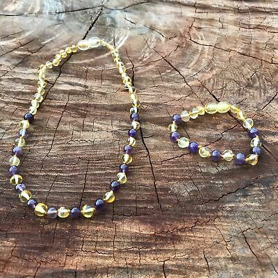 SET Baby Yellow Amber & Amethyst Bead Necklace and Bracelet Set