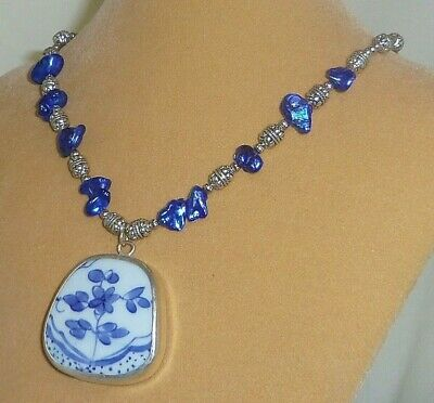 Chinese pottery shard pendant w/ blue pearl & metal bead handmade necklace N204