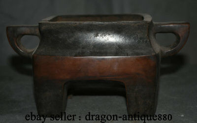 "9"" Marked Chinese Dynasty Palace Old Bronze 4 Foot Handle incense burner Censer"