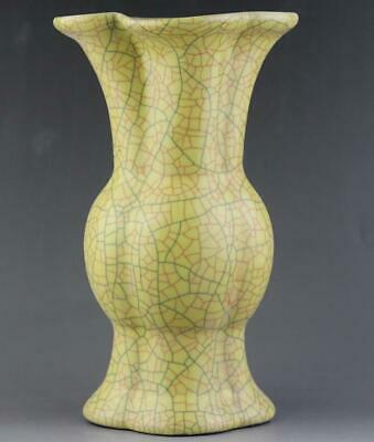 chinese old handmade ge kiln Yellow glaze porcelain vase 04223