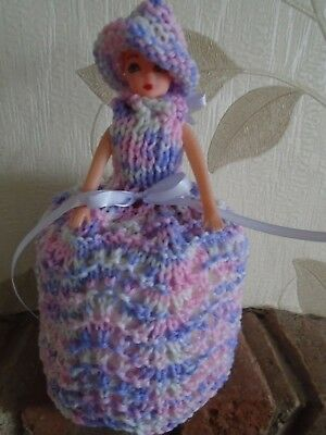 Hand Knitted Pink/Lilac /White Doll Toilet Roll Cover