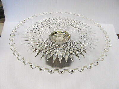 """Duchin Creations Sterling Weighted Base Pressed Glass Top 6 ¾"""" W V Good Cond"""