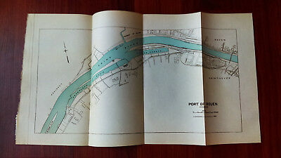 1910 Sketch Map of Port of Rouen France Petroleum Basin and Seine River