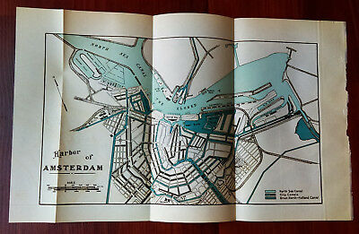 1910 Sketch Map Harbor of Amsterdam North Sea Canal Docks
