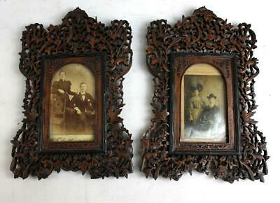A Pair Of Late 19Th Century Anglo-Indian Carved And Pierced Wooden Photograph