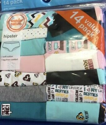 Wonder Nation Girl's 14-Pair Hipsters Soft Cotton ~ Size 6 NEW!!!!