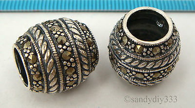 1x ANTIQUE STERLING SILVER MARCASITE STONE FLOWER ROUND SPACER BEAD 14.6mm #2273