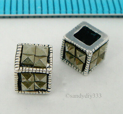 2x ANTIQUE STERLING SILVER MARCASITE STONE CUBE SPACER BEAD 5mm #1948
