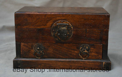 "9.2"" Collect Old Chinese Huanghuali Wood Carving Dynasty Drawer Jewelry Box"