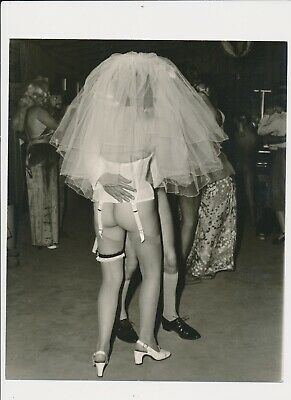 """#2,1960's Unusual Surreal White Mask Suite """"Bridal Veil"""" Nude from Behind"""