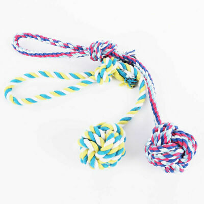 Chew Toy with Knot Fun Tough Strong Puppy Dog Pet Tug Cotton Rope Play War E1J9