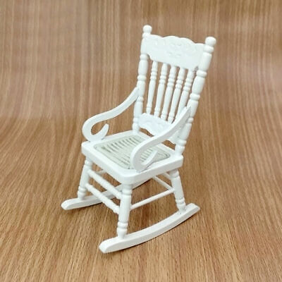 White Wood Rocking Chair For 1:12 Doll House Miniature Room Tackle Living R9O3