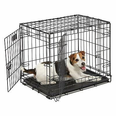 """20""""-48"""" Pet Kennel Cat Dog Folding Steel Crate Animal Playpen Wire Metal Cage"""