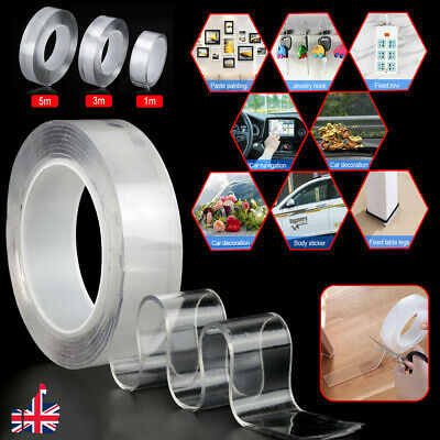 Magic Nano Tape Double-sided Gel Grip Traceless Washable Adhesive Invisible UK