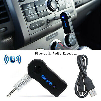 Car Wireless Bluetooth 3.5MM AUX Audio Stereo Music Receiver Adapter With Mic UK