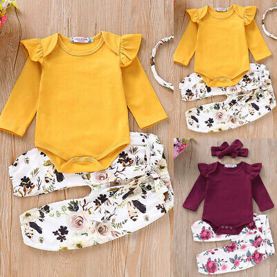 Newborn Baby Girl Cotton Clothes Romper Top Floral Pants Outfits Set Headband AU