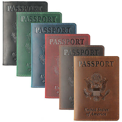 100% Cowhide Leather Travel USA Passport Holder Business Vinatge ID Card Holder