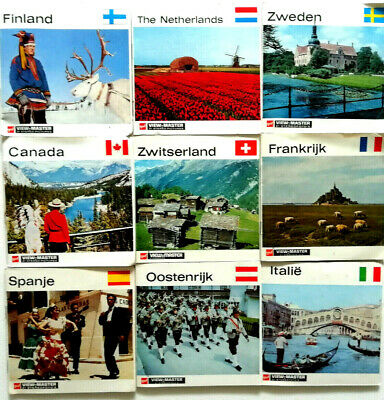 27x VIEW MASTER 3D REEL / NATIONS of the WORLD / CANADA FINLAND SPANIEN ITALIEN