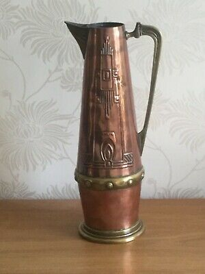 A Secessionist Copper and Brass Water/Wine  jug by Gebruder Bing