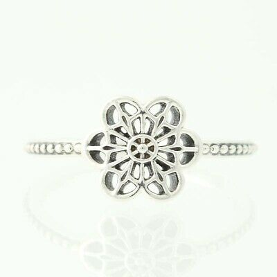 New Authentic Pandora Floral Daisy Lace Ring - Sterling Silver 50 (US 5) 190992