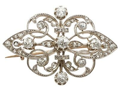 Antique 1880s French 2.80ct Diamond and 18Carat Yellow Gold Brooch