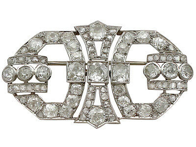 1930s Art Deco French 6.32 ct Diamond and Platinum Brooch