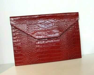 """Leather Envelope Crocodile Embossed Meetings Photos Papers 14x10"""" Graphic Image"""
