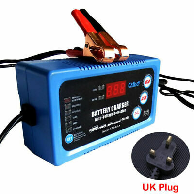 6V 12V Acid Battery Charger Maintainer LCD Display For Car Motorbike Boat Marine