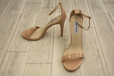 e9e41fb8d23 WOMEN'S STEVE MADDEN Stecy Nude Ankle Strap Heeled Sandals Size 7 M ...