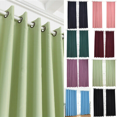 Thermal Pencil Pleat Blackout Curtains Ready Made Eyelet Ring Curtains Drapes UK
