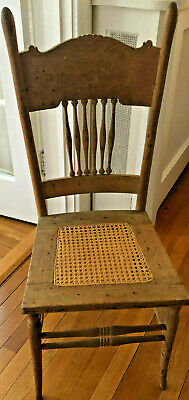 Antique Pressed Oak Chair Recaned and Cleaned Up