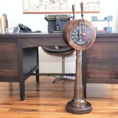 """Large Two-Engine Antiqued Brass Telegraph REPLICA~40"""" High~Weight: 35 lbs."""