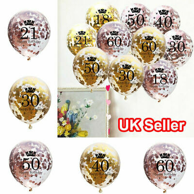 Rose Gold Happy Birthday Bunting Balloons 18/21st/30/40/50/60th Party Ballons uk