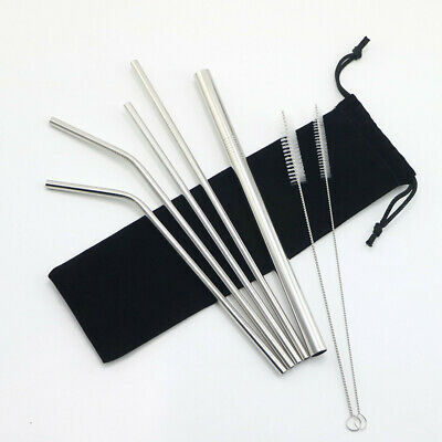 Straws Stainless Steel Metal Drinking Straw Bar Reusable And Cleaning Brush Set