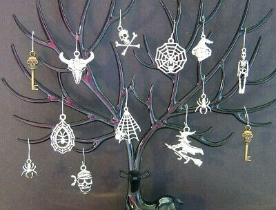 Halloween Ornaments Tree Mini Decorations Witches Spiders Skeletons Silver Color