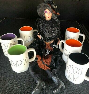 New RAE DUNN Halloween LL Mugs Cups By Magenta INSIDE Green Black Orange Purple