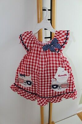 Nannette Girls Size 2T Top and Bike shorts Outfit  NWT NEW Red Blue Cat Kitty