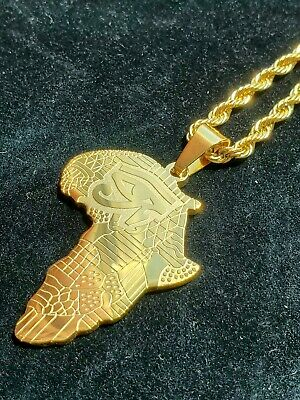 """Gold Plated Africa Eye of Horus Pendant 24"""" Rope Chain Necklace"""
